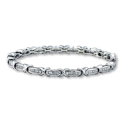 Diamond Bracelet 1 ct tw Baguette cut 10K White Gold