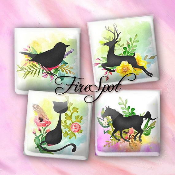 20 mm Square,Animal,printable images for glass Pendants,Scrapbooking Cartoon Black Dogs Digital Collage Sheet 1.5 inch 1 inch,25 mm