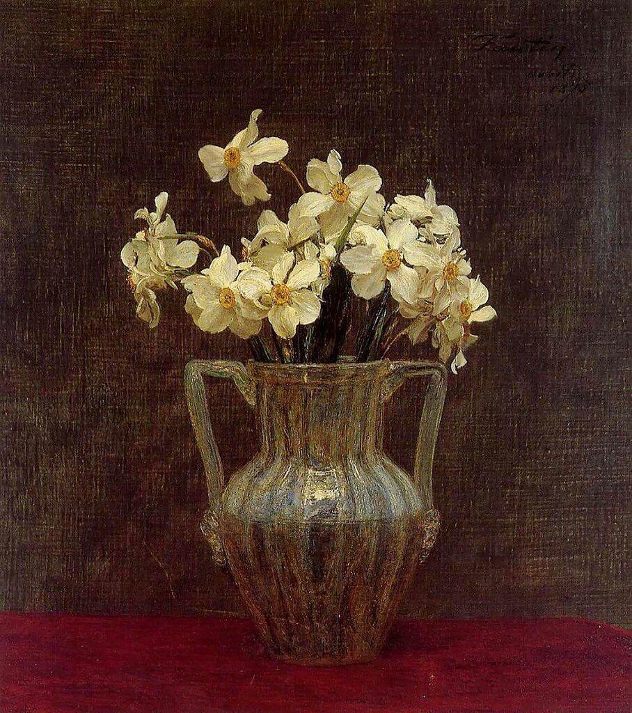 Narcisses in an Opaline Glass Vase Henri Fantin-Latour 1836-1904