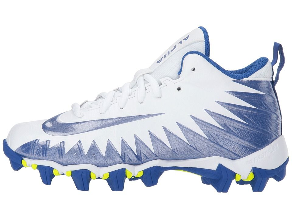 wholesale dealer 81697 02163 Nike Kids Alpha Menace Shark Football (Toddler Little Kid Big Kid) Kids  Shoes White Game Royal Game Royal