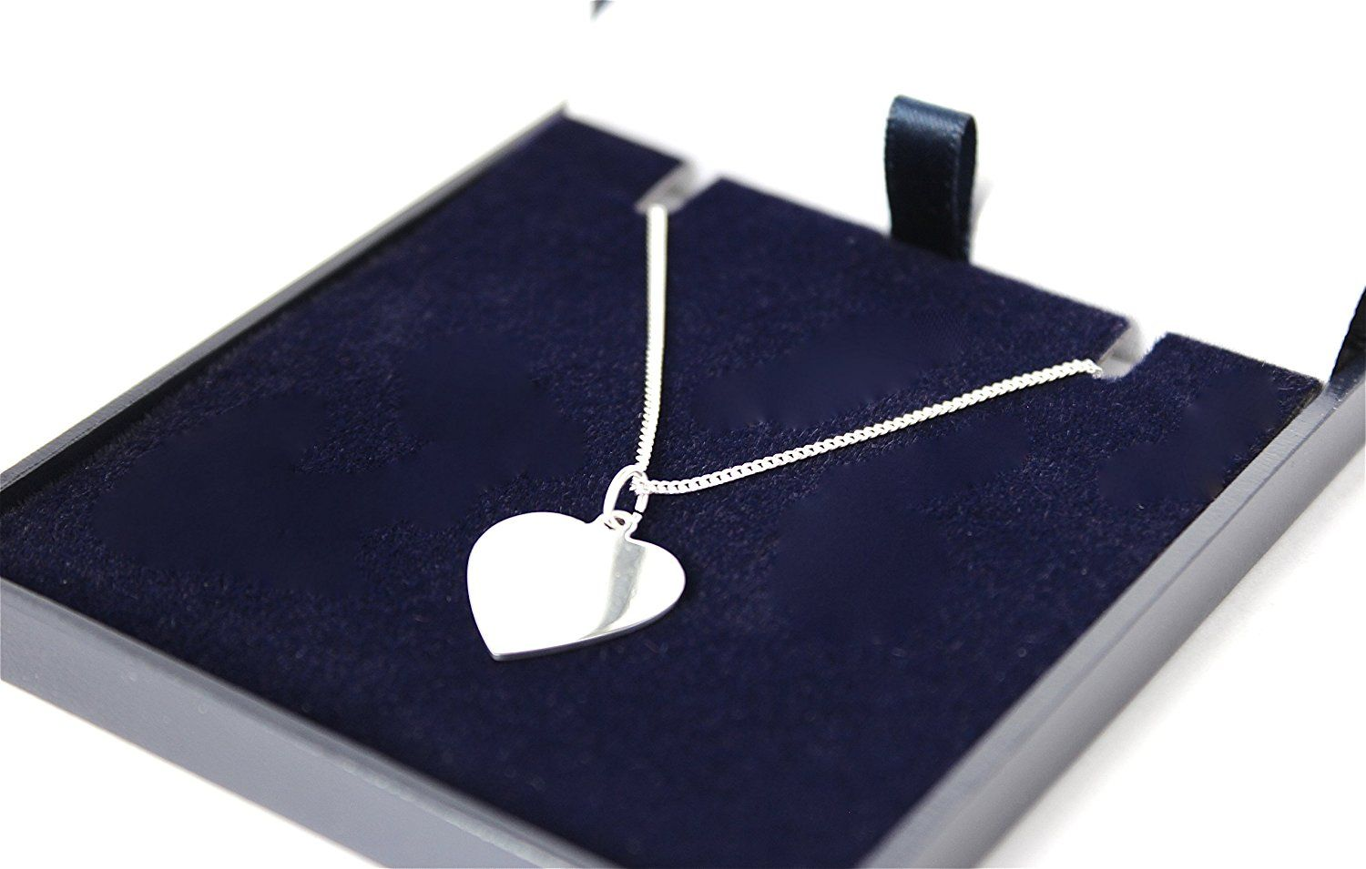 MILLY Solid Sterling Silver 925 HEART NECKLACE, FREE PERSONALISED ENGRAVING - with NAMES, BIRTHDAY etc
