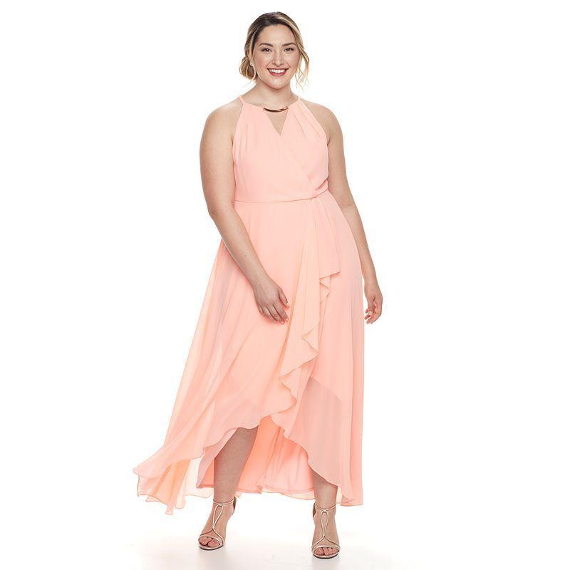 Plus Size Chaya Chiffon Faux-Wrap Evening Gown, Lt Orange   Gowns ...