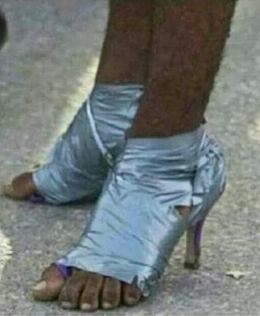 fc6a6e61ae48f The hairy legs or the duck tape shoes. A shoebox would look better.