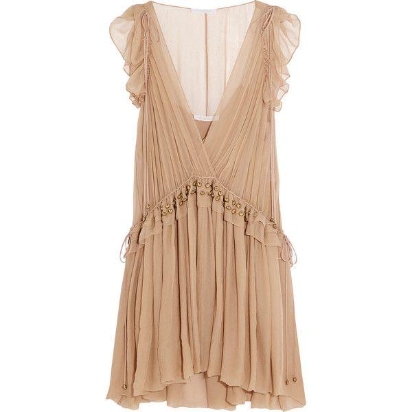 Chloé Ruffled silk-chiffon mini dress (€3.460) ❤ liked on Polyvore featuring dresses, vestidos, chloe, pink, short pink dress, mini dress, ruffle slip, beige cocktail dress and pink ruffle dress
