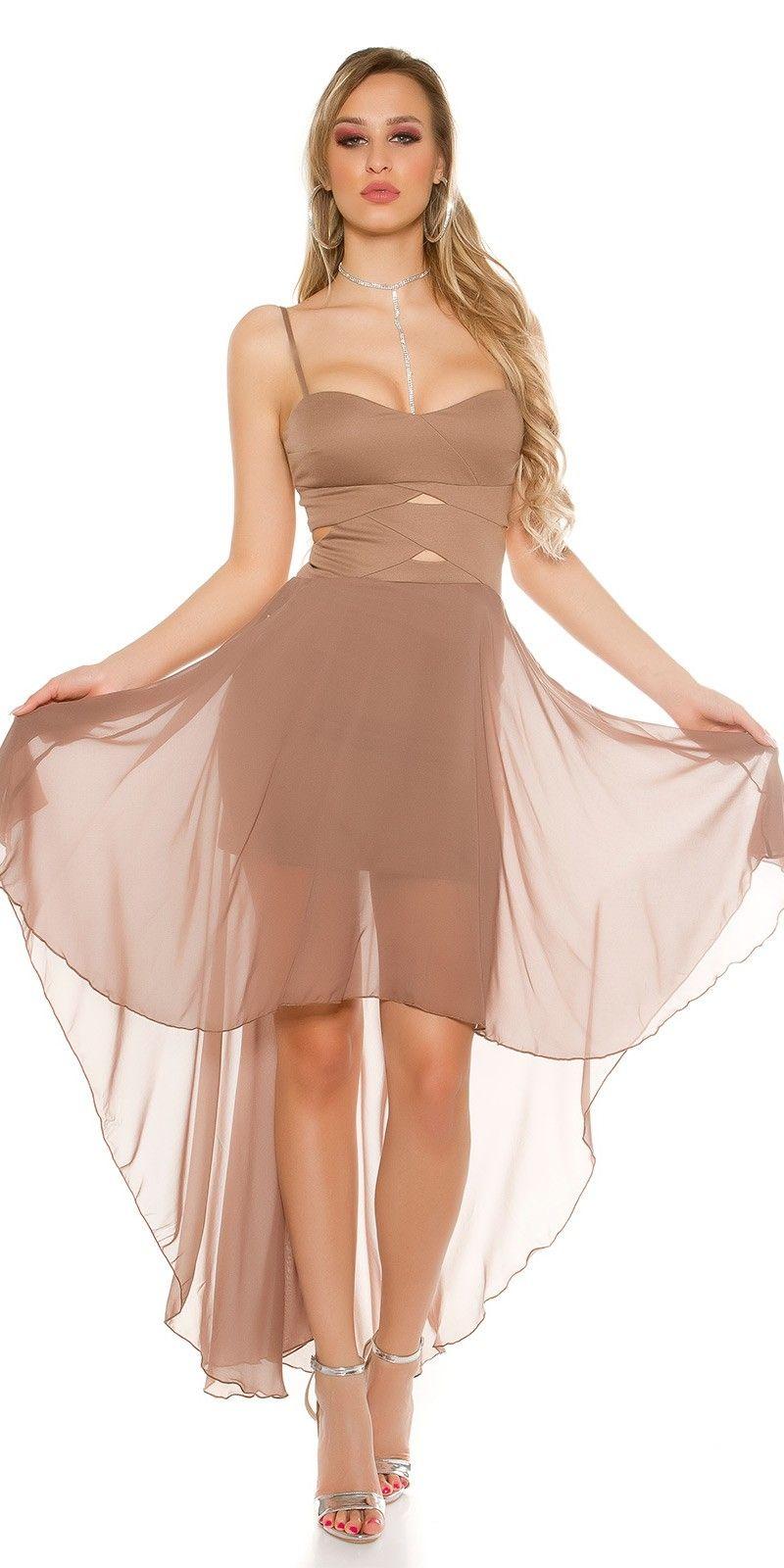 Koucla high low dress with sexy insightkleur cappuccino jurken