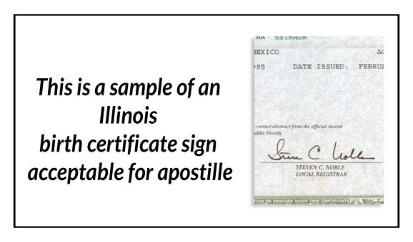 This is a sample of an Illinois Birth Certificate sign