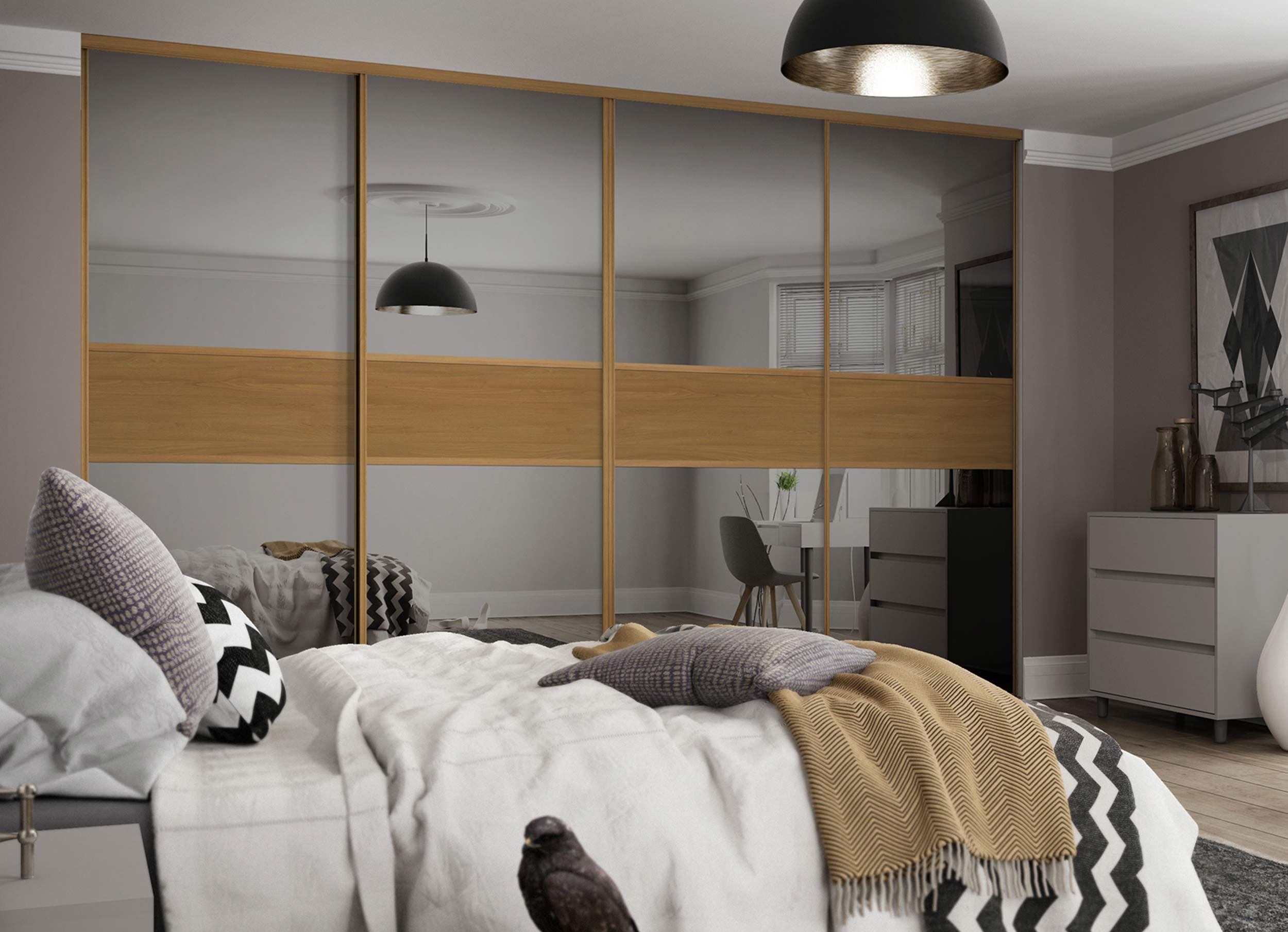 3 panel mirrored sliding closet doors - For A Contemporary Style Use Classic 3 Panel Sliding Wardrobe Doors In A Fineline Grey