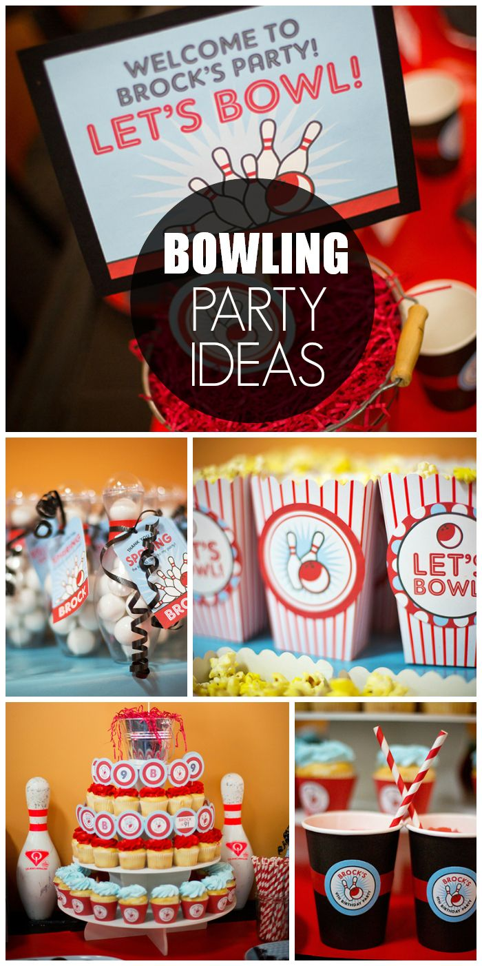 Bowling Birthday Bowing Theme 9th Birthday Party Catch My Party 9th Birthday Parties Bowling Party Favors Kids Bowling Party
