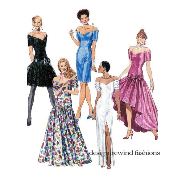 1990s EVENING GOWN Sewing Pattern Sexy Strapless Dresses Fit & Flare ...