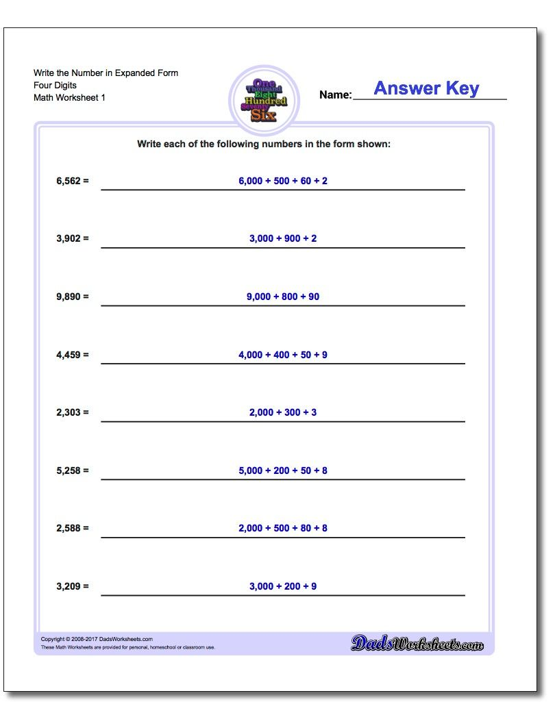 Write the Number in Expanded Form Worksheet Four Digits #Standard