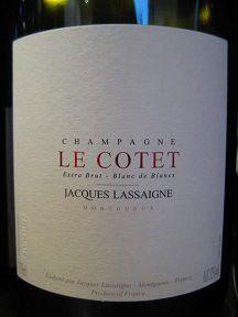 N.V. Jacques Lassaigne Champagne Extra Brut Blanc de Blancs Cuvée Le Cotet Montgueux