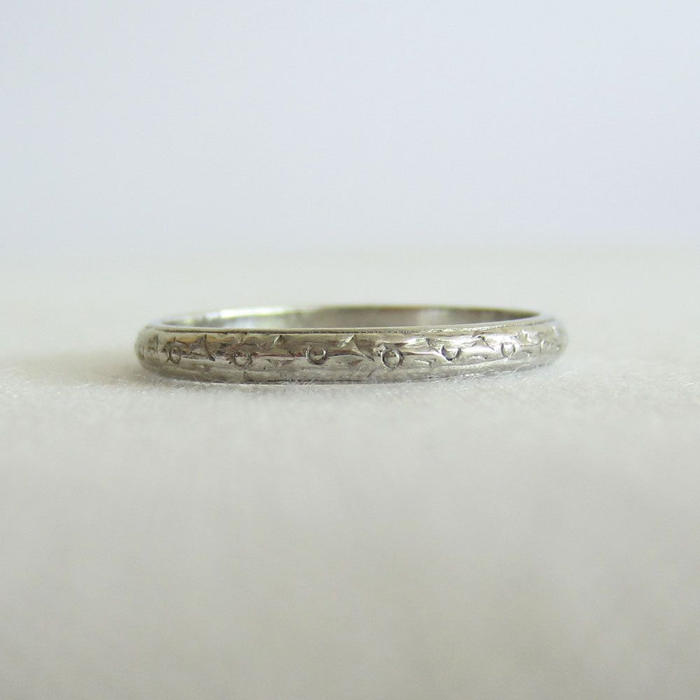 art band deco engraved platinum wedding bands erie basin