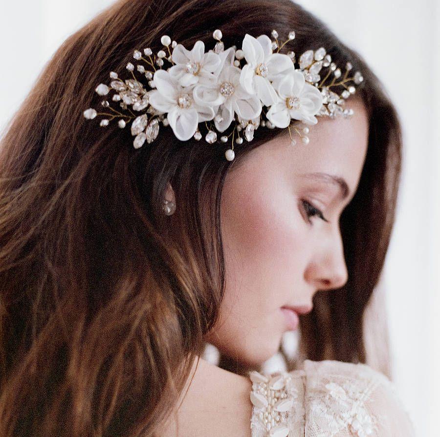 handmade flowers bridal hair comb by lov lov
