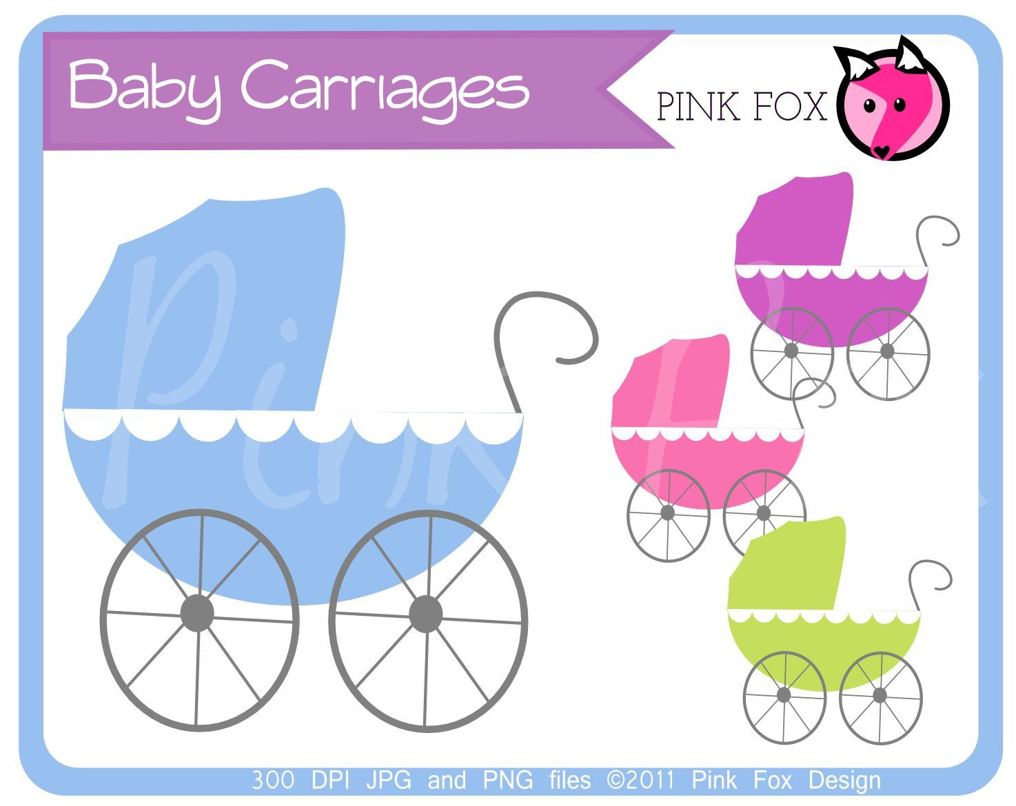 INSTANT DOWNLOAD - Baby carriage clipart - baby shower clip art ...