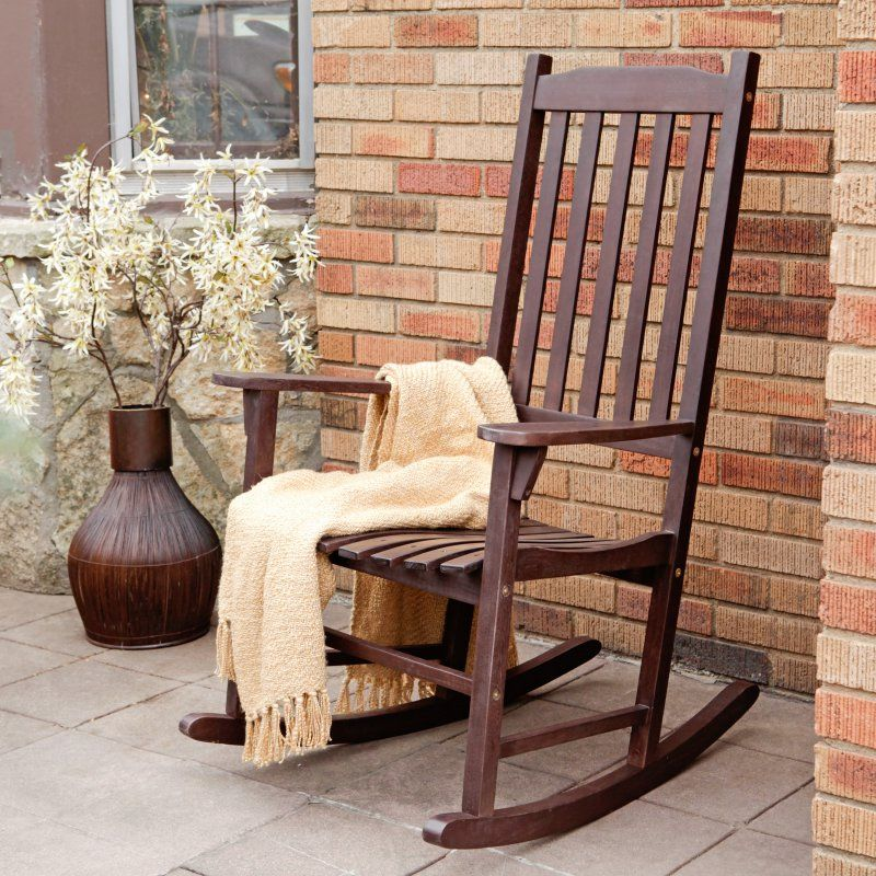 Coral Coast Indoor/Outdoor Mission Slat Rocking Chair - Dark Brown - Outdoor Rocking Chairs at Hayneedle