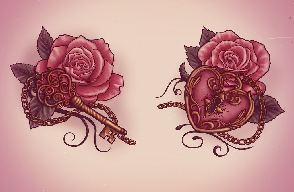 Lock and key tattoo design by for Lock and key decor