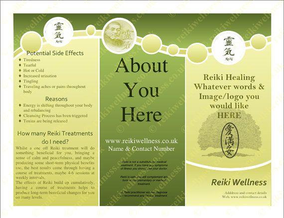 Tri Fold Reiki Leaflet Brochure Customised By