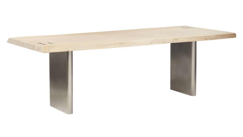 Landscape Live Edge White Washed Wood Dining Table Reviews Cb2 Wood Dining Table Dining Table Whitewash Wood