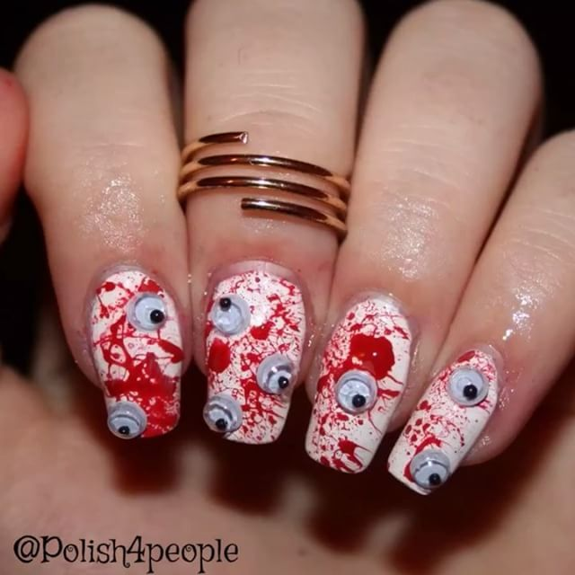Hey Guys Heres The Tutorial For My Bloody Eye Nails Using Googley