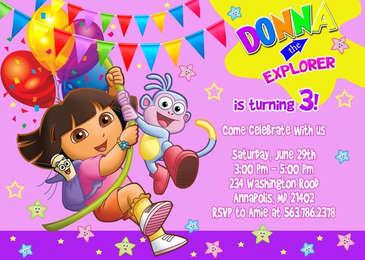 cool Dora the Explorer Birthday Party Invitations