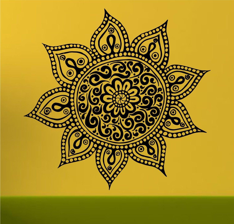 Mandala Menhdi Flower Pattern Decal Sticker Wall Decal Sticker ...