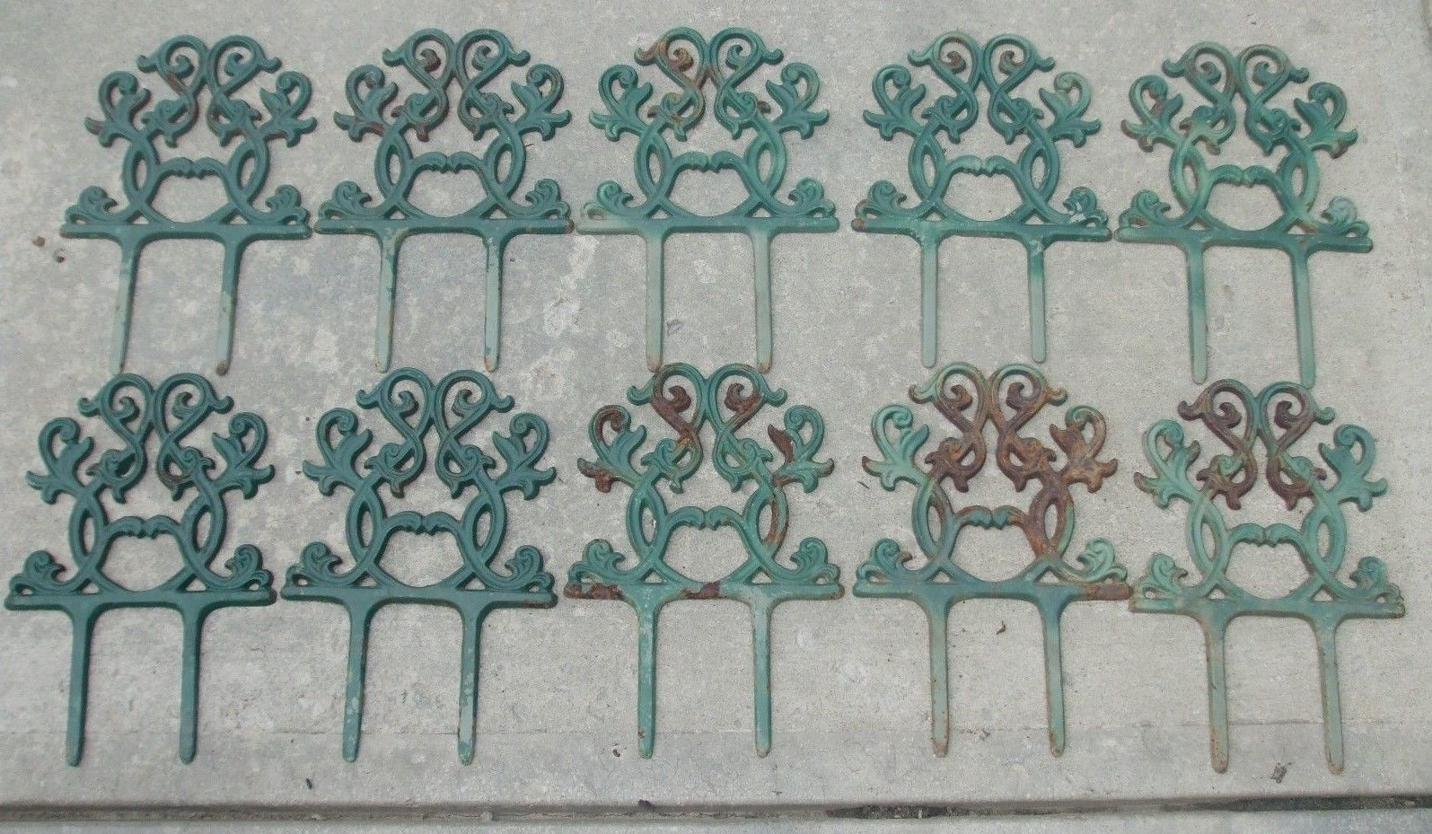 10 Vintage Cast Iron Garden Walk Fence Edging 8 Lengths The Old