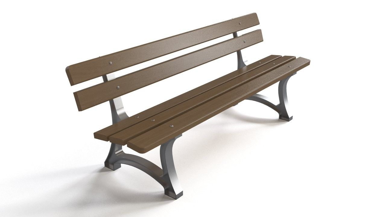 More classic park-like bench, although with contrasting glossy steel base.