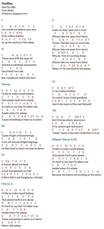 Fireflies   Owl City (Bb) Flute Notes | FluteNotes.ph (Free Letter