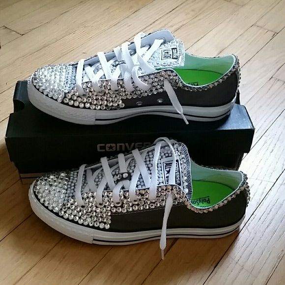 b3e26f0bccb7 Blinged Out Chucks Grey color