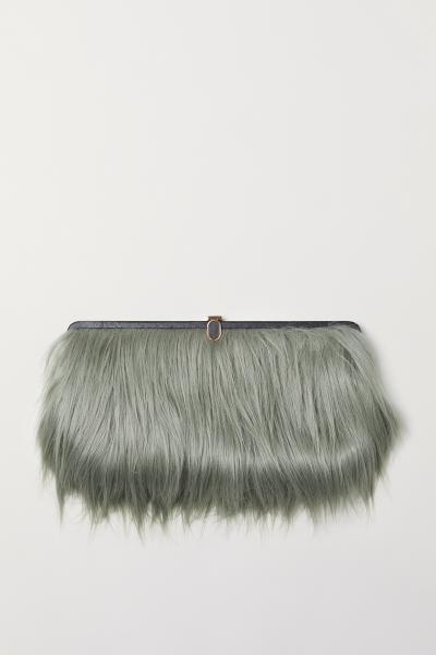 5c3e18e24e Faux Fur Clutch - Dusky green - Ladies