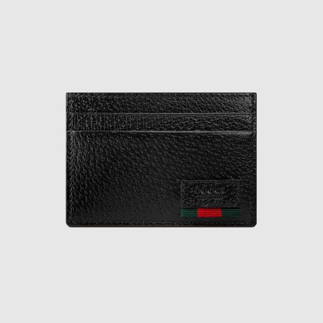 0b212335b11 Shop the Leather money clip with Web by Gucci. A leather money clip with  our Gucci embossed tab and signature green and red Web detail.