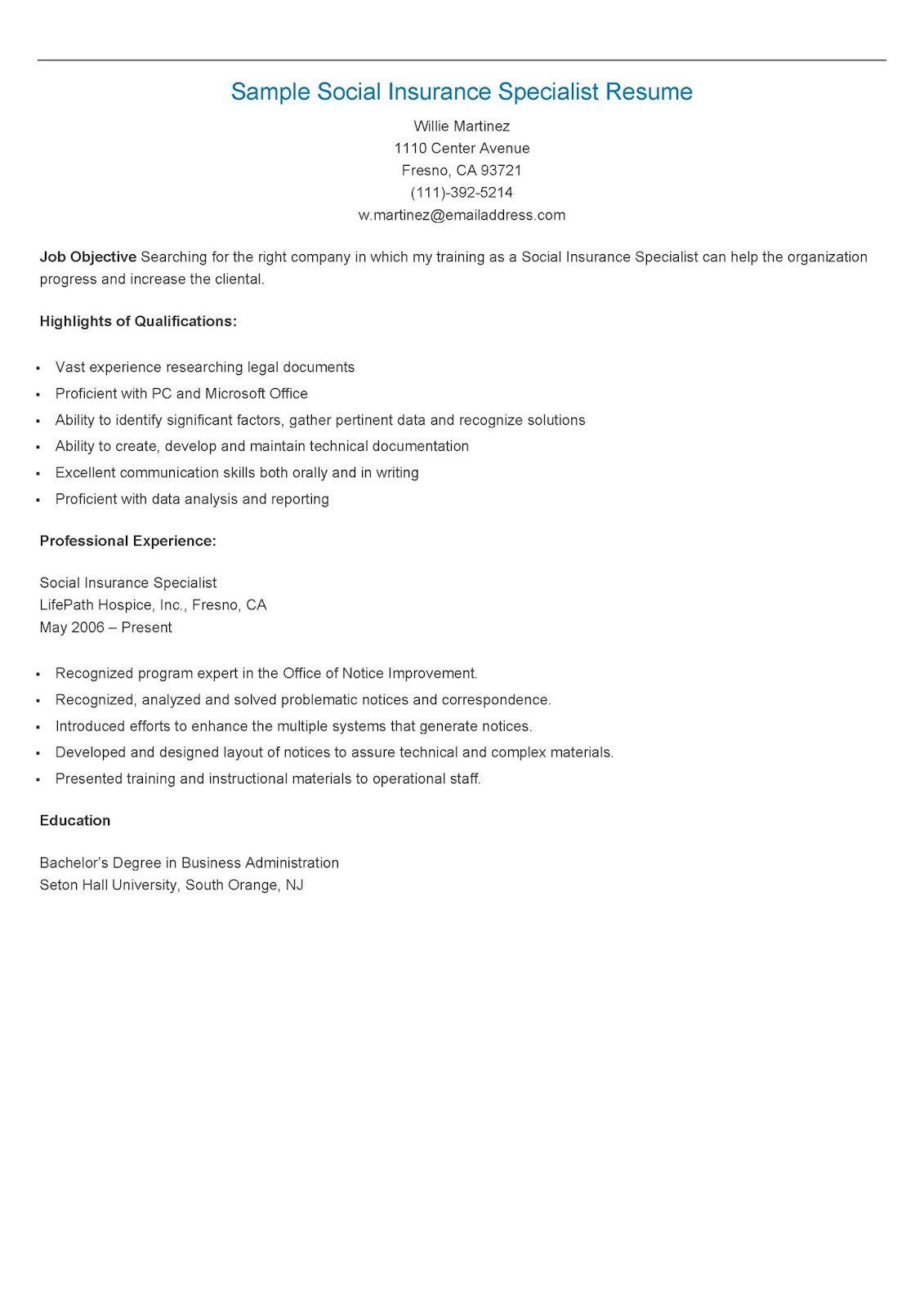 Sample Social Insurance Specialist Resume Resame Resume