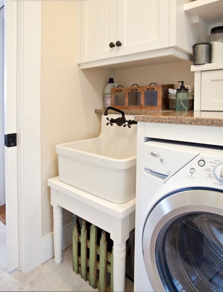 15 Clever Laundry Room Ideas That Are Practical And Space Efficient Vintage Laundry Room Laundry Room Sink Basement Laundry Room