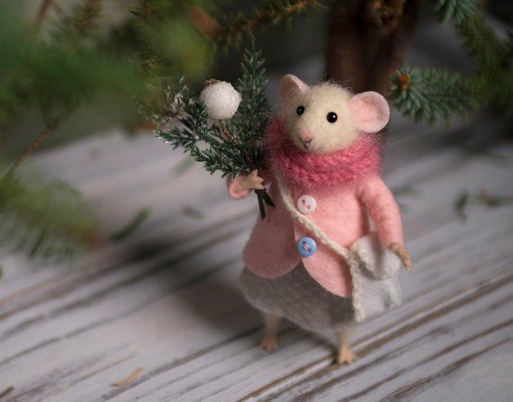 Nadel Gefilzte Maus Woolen Maus Weihnachten Maus Etsy Felt Mouse Needle Felting Tiny Gifts