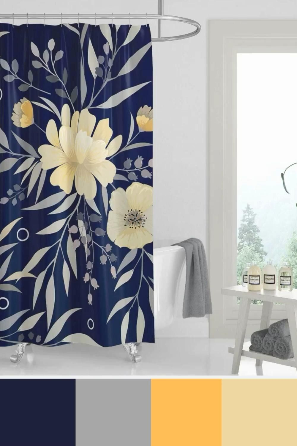 Home Decor Bathroom Colors Floral Shower Curtain For Navy Blue And Yellow Bathroom Ideas 1000 In 2020 Pink Bathroom Decor Blue Bathroom Decor Yellow Bathroom Decor