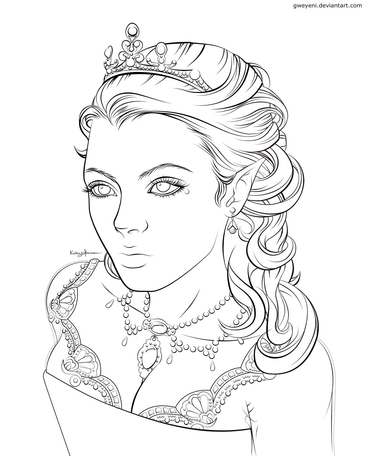 Image Detail For Coloring Page With Stunning Elf Queen Adult