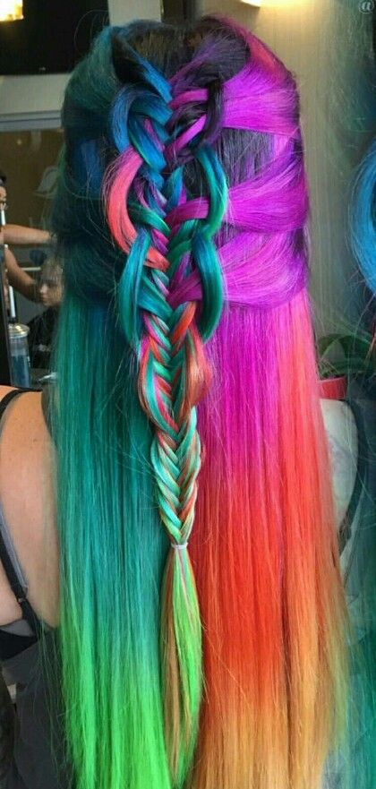 Purple Red Rainbow Dyed Braided Hair Color