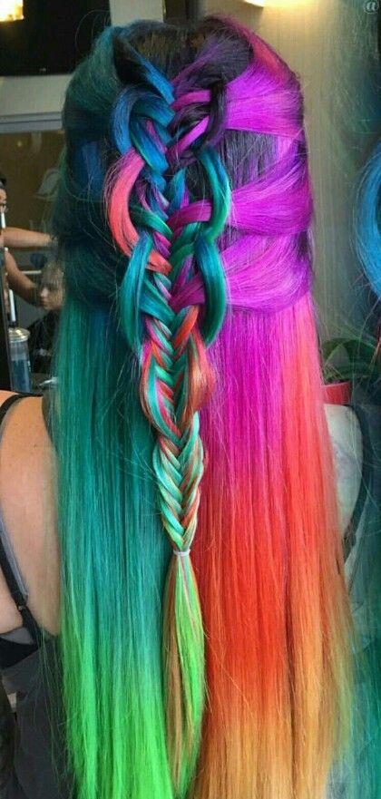 purple red rainbow dyed braided