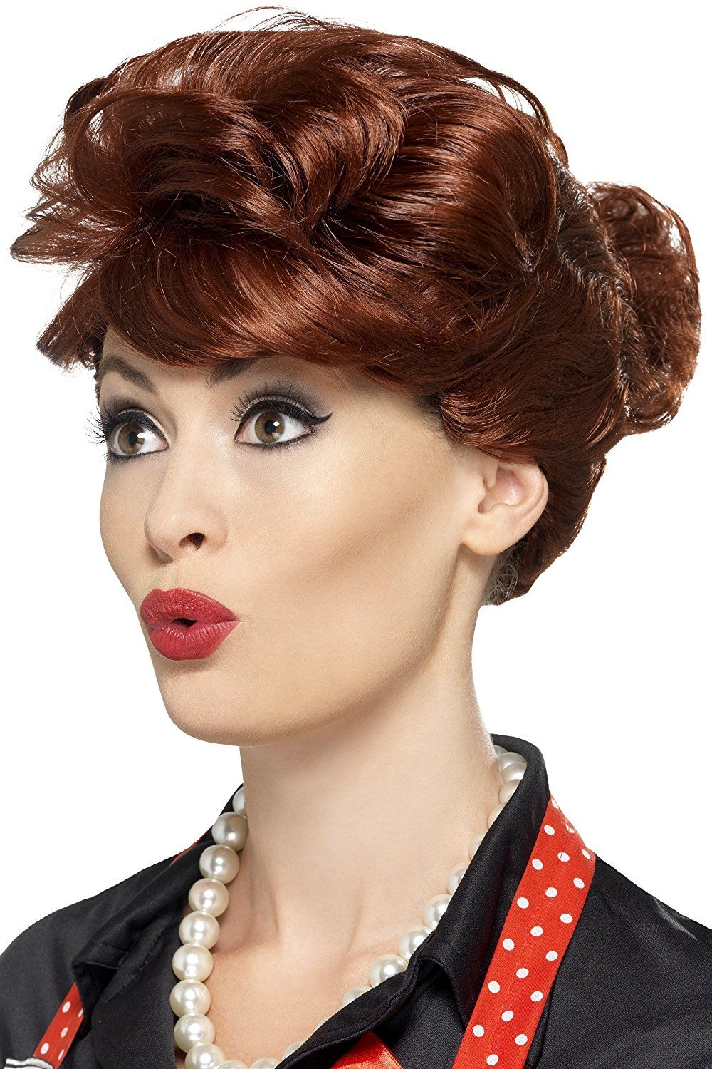 Ladies Glamour Fancy Dress Wig Auburn Hen Party Curly Wig New by Smiffys