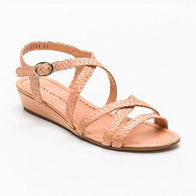 007693ef144 Pons Quintana woven low-wedge sandal in pale rose | Spanish Shoes ...
