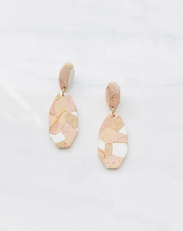 statement earrings Blush clay earrings polymer clay earrings gold pearl leaf drop earrings Blush earrings  
