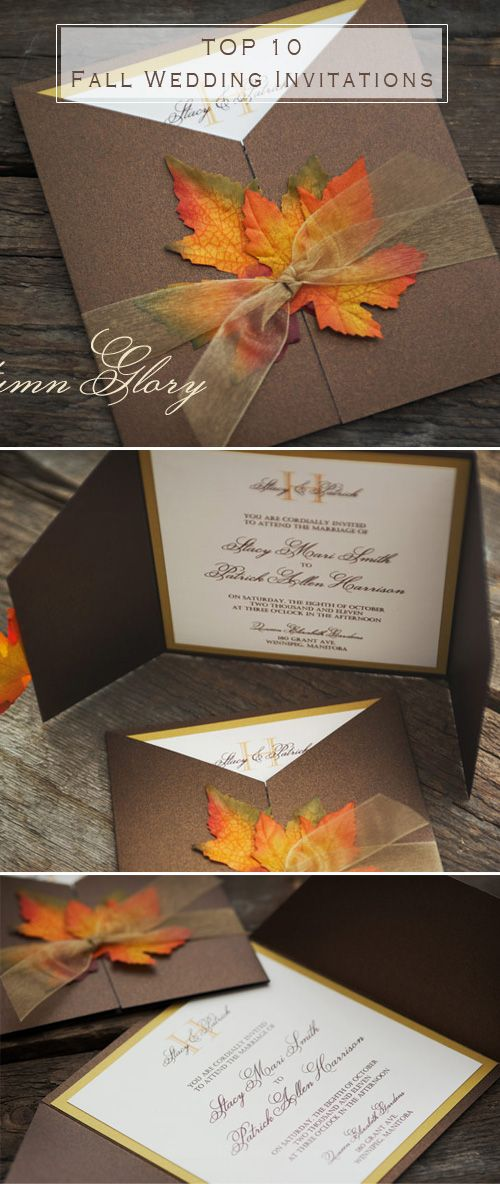 Top 10 Fall Wedding Invitations for Autumn Weddings | Leaves ...