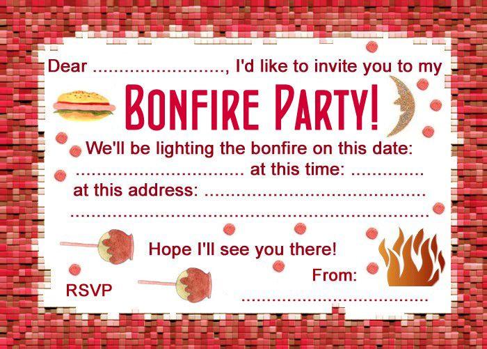 Bonfire Night Party Invitation Party Party Invitations Party