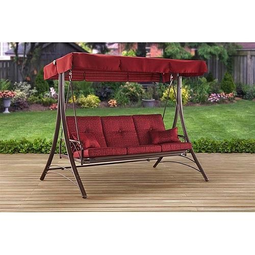 Great 3 Person Patio Swing Canopy Porch Red Recline Fade Resistant UV Treated  Pillows | Patio Swing, Canopy And Swings