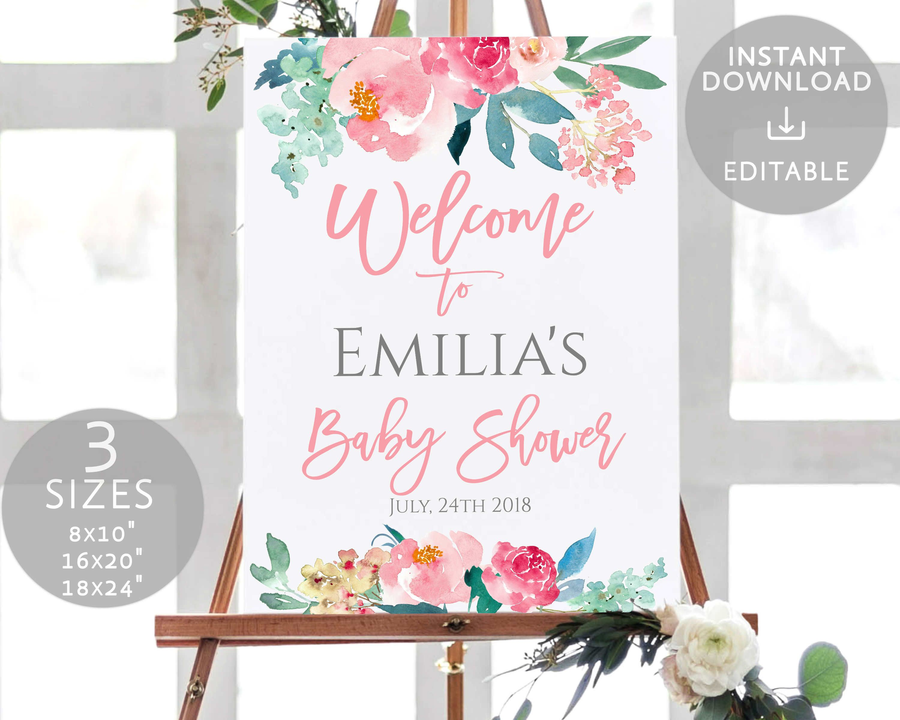 Baby Shower Welcome Sign Printable Blush Pink Floral Mint