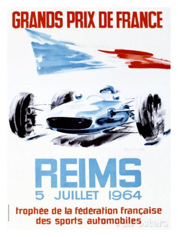 Grand Prix De France Reims 1964 Giclee Print Allposters Com In 2021 Auto Racing Posters Racing Posters Vintage Racing Poster