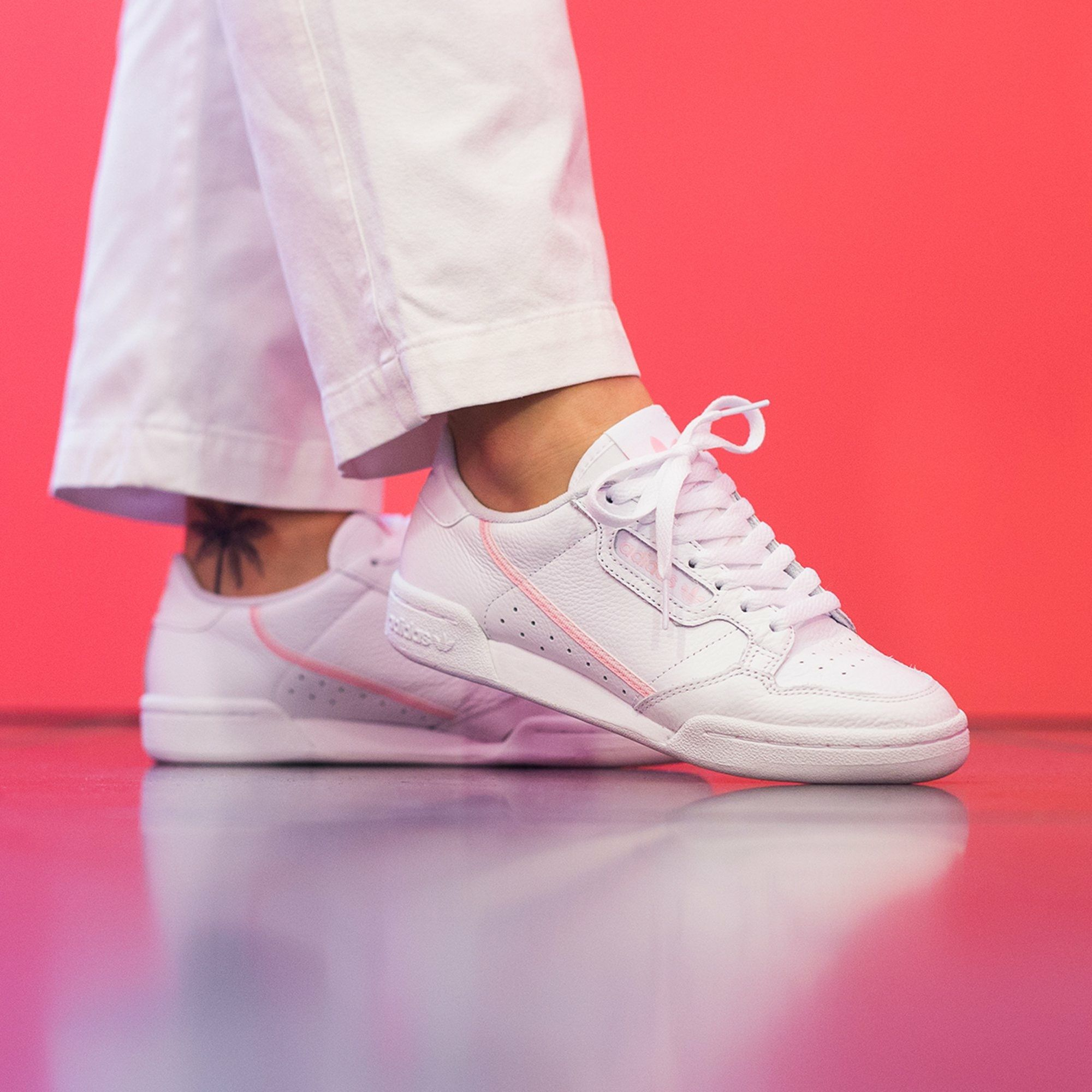 adidas Originals Continental 80 | Pink leather shoes, Adidas