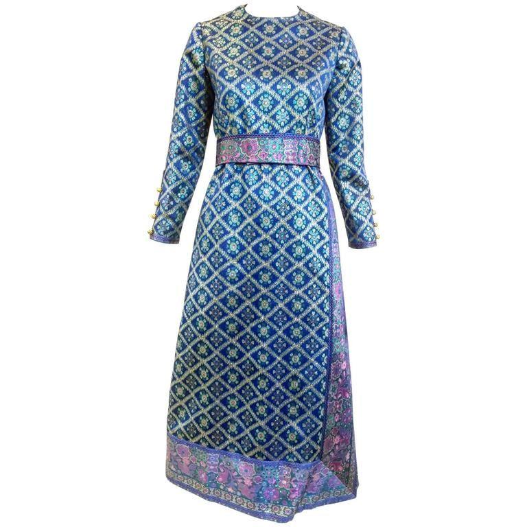 1970s Oscar De La Renta blue metallic brocade 70s vintage dress ...