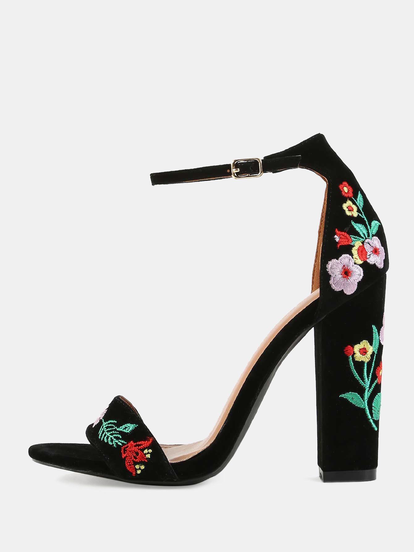 0dbe958a16a Online shopping for Embroidered Open Toe Chunky Heels BLACK from a great  selection of women s fashion clothing   more at MakeMeChic.COM.