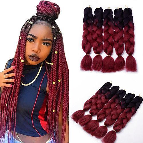 5pcs Box Braids Jumbo Hair Extensions 1b Wine Red Color Kanekalon Hair Braids 500g 2017 21 75 Kanekalon Hairstyles Box Braids Styling Braided Hairstyles